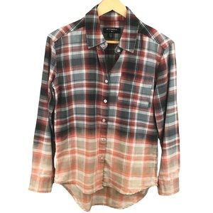 URBAN OUTFITTERS Dip Dye Flannel Button Down
